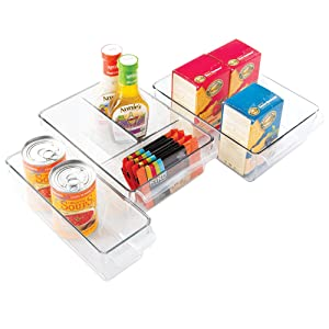 mDesign Plastic Kitchen Pantry Cabinet Fridge Refrigerator Storage Organizer Bin Holder with Handle - Organizer for Cans, Bottles, Packets, Snacks, Produce, Pasta - Set of 3 - Clear
