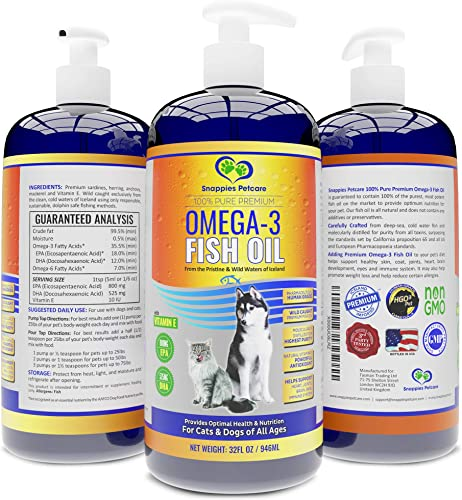 Snappies Petcare Omega 3 Fish Oil for Dogs and Cats Wild, Natural Icelandic Liquid Fish Oil Supplement. No Odor More EPA DHA Than Salmon Oil for Optimal Pet Nutrition