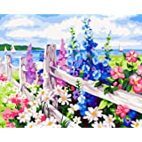 DIY Paint by Numbers Kit for Adults - Flowers   DIY Paint by Numbers Landscape Scene Paintings Pictures Arts Craft for Home Wall Decor   Pre-Printed Art-Quality Canvas, 3 Brushes, 24 Acrylic Paints