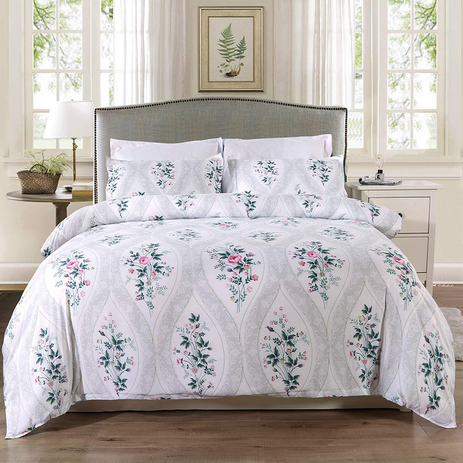Homaxy 3-Piece (1 Duvet Cover + 2 Pillow Sham) Duvet Cover Set, Ultra Soft Hypoallergenic Microfiber Rose Pattern Printed Bedding Set with Zipper Closure, Corner Ties, King 104x90 inches