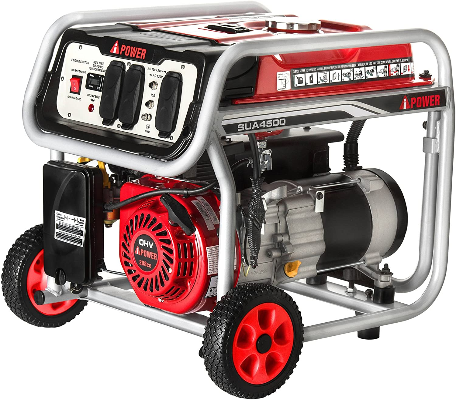 A-iPower SUA4500 4500 Watt Portable Generator Gas Powered Wheel Kit Included, Rated Watt 3500 Running, EPA CARB complied