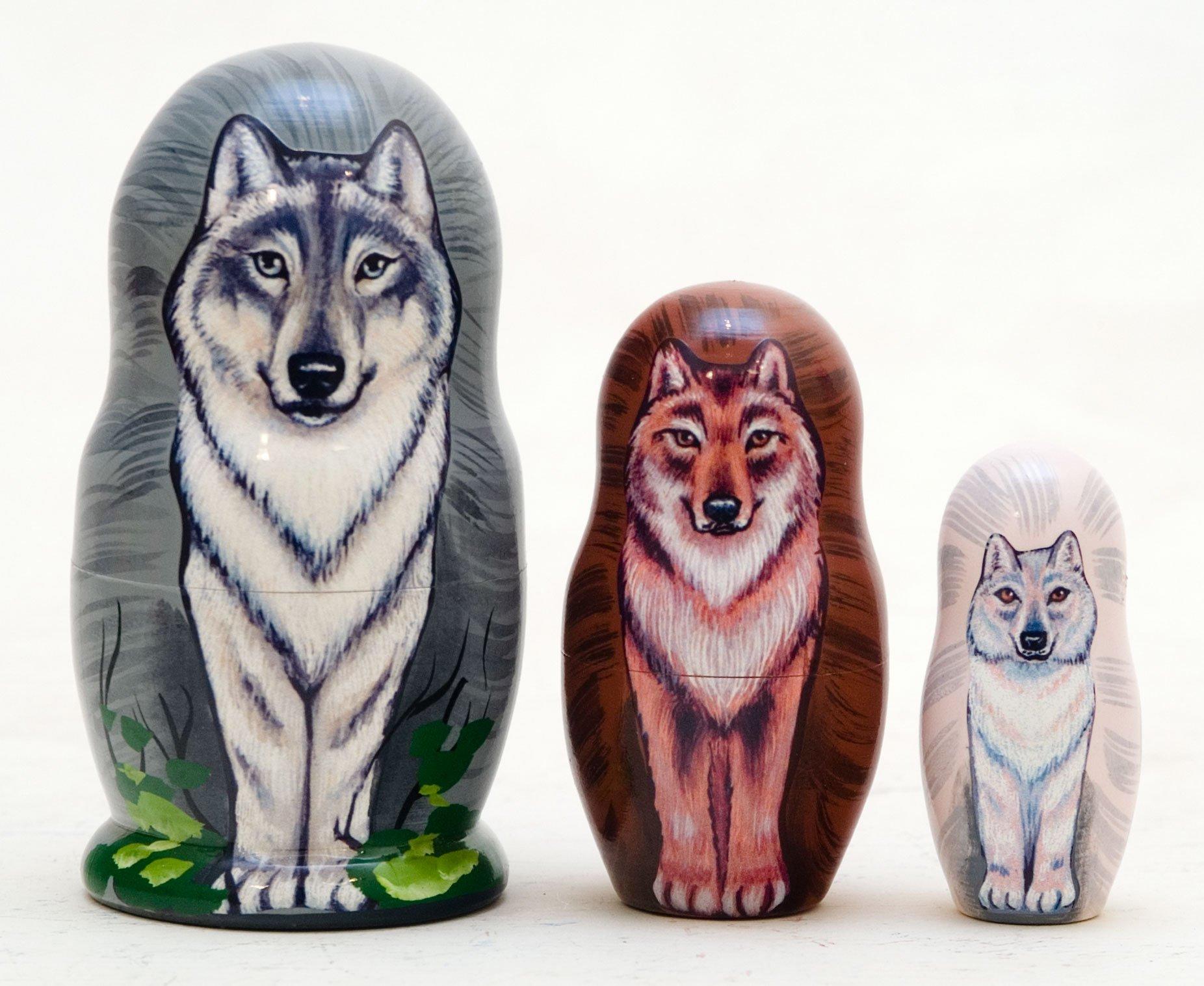 Made in Russia Wolf Pack Nesting Doll 3pc./3'' aka Grey Wolf or Timber Wolf Matryoshka Collectible Babushka Russian Doll top quality 100% Guaranteed!