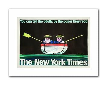 NEWSPAPER YORK MEN BOAT ROW RIVER USA Poster Canvas art Prints