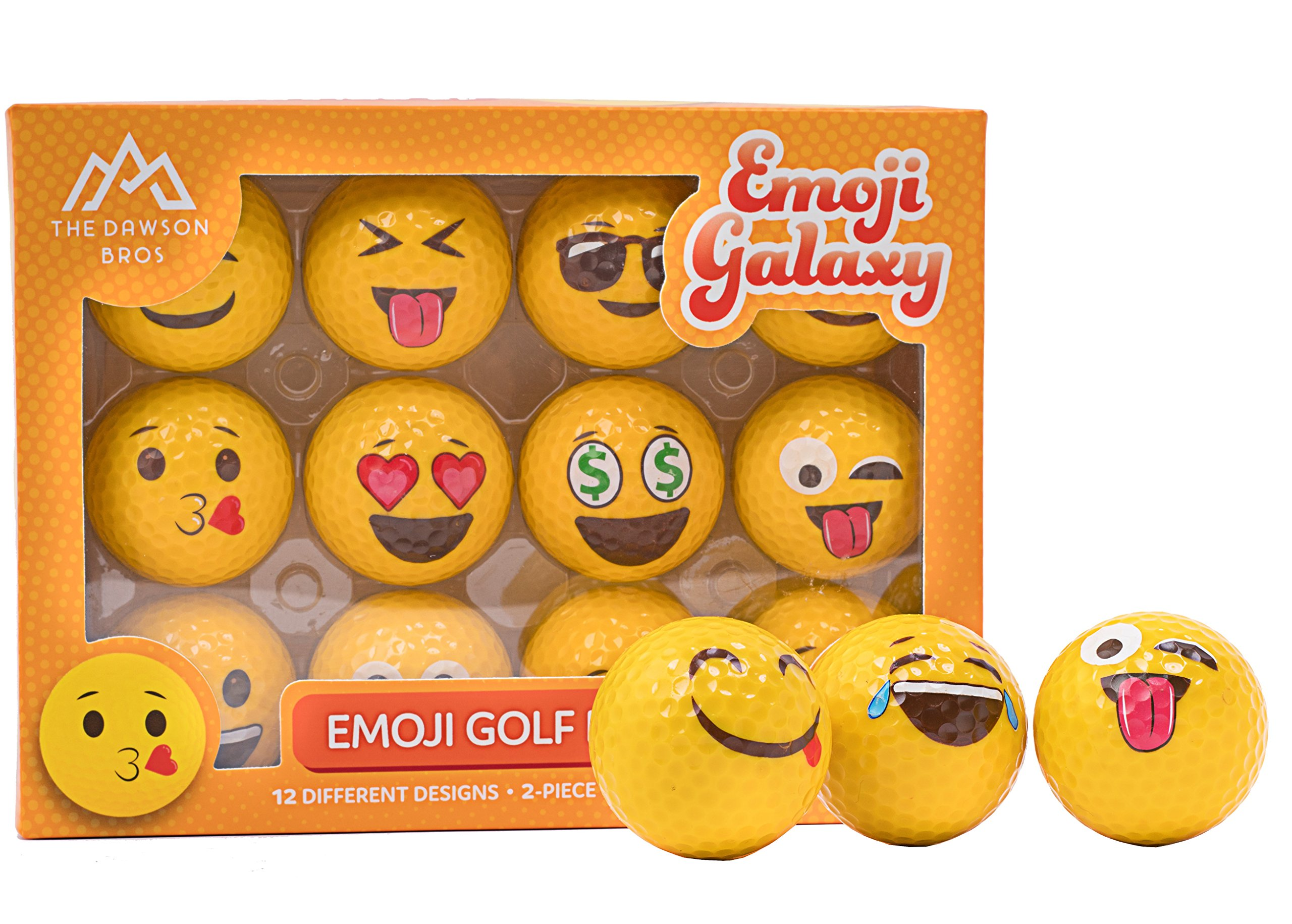 The Dawson Bros Emoji Galaxy - Professional Practice Golf Balls - 12 Pack - Best Gift for family