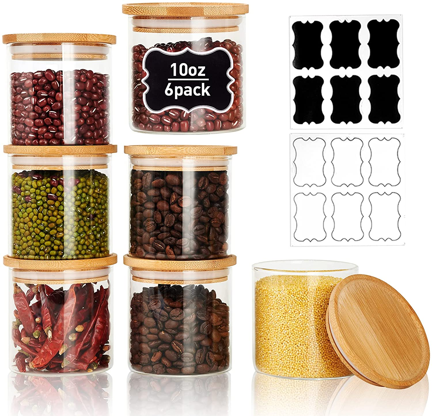 LIFESENCE Glass Jars with Lids 10 oz Spice Jar Small Glass Canisters Set of 6 with Bamboo Airtight Lids and Labels Small Containers for Kitchen Sugar Salt Tea Herbs Coffee and More