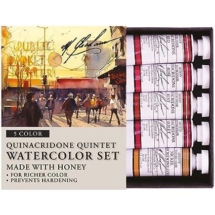 M  Graham 1/2-Ounce Tube Watercolor Paint Set, Quinacridone Quintet 5  (33-QUIN)