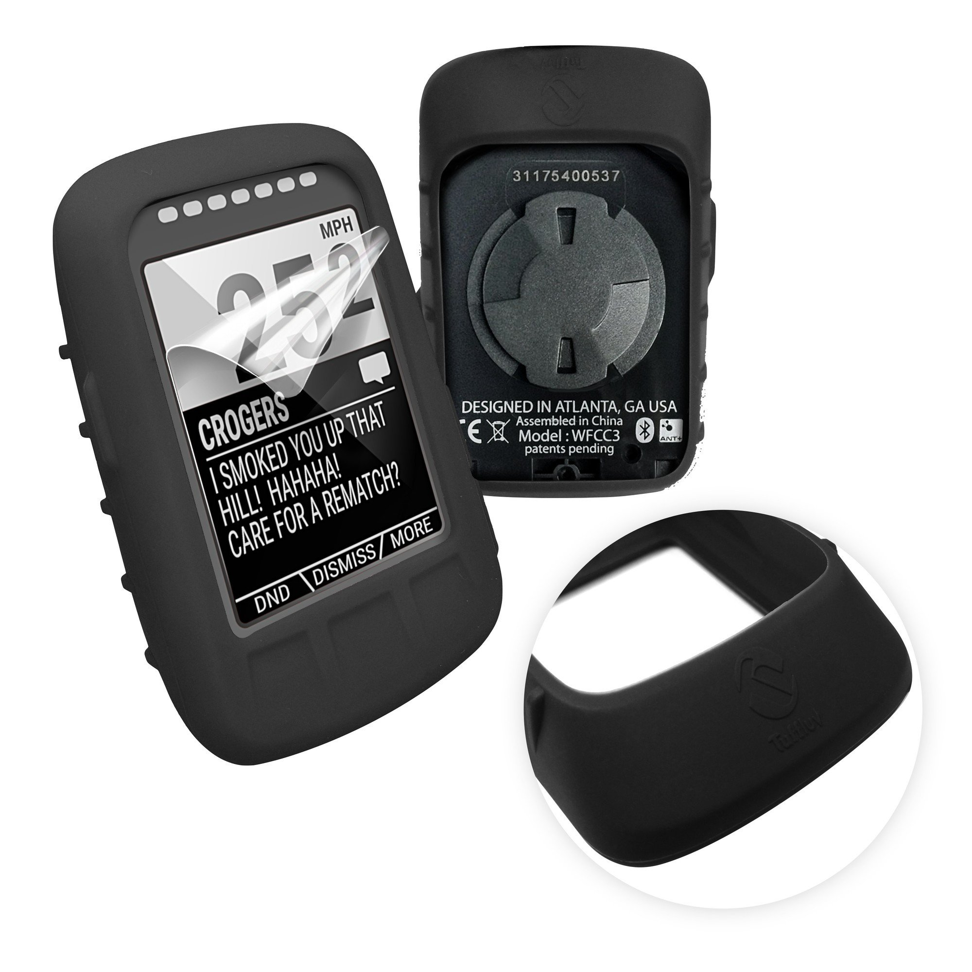 Tuff-luv Silicone Gel Skin Case & Screen Cover Protection for Wahoo Elemnt Bolt - Black