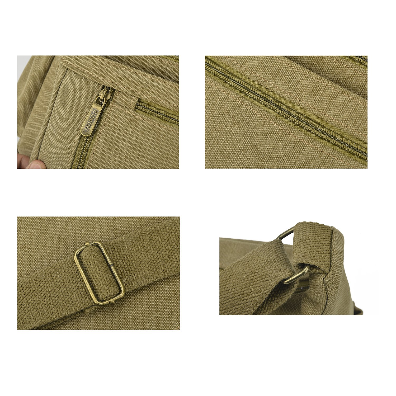 Black Qflmy Vintage Canvas Messenger Bag Handbag Crossbody Shoulder Bag Leisure Change Packet