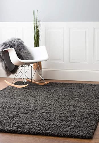 Super Area Rugs Solid Cozy Large Shag Rug for Home Decor 8X10, Charcoal Gray