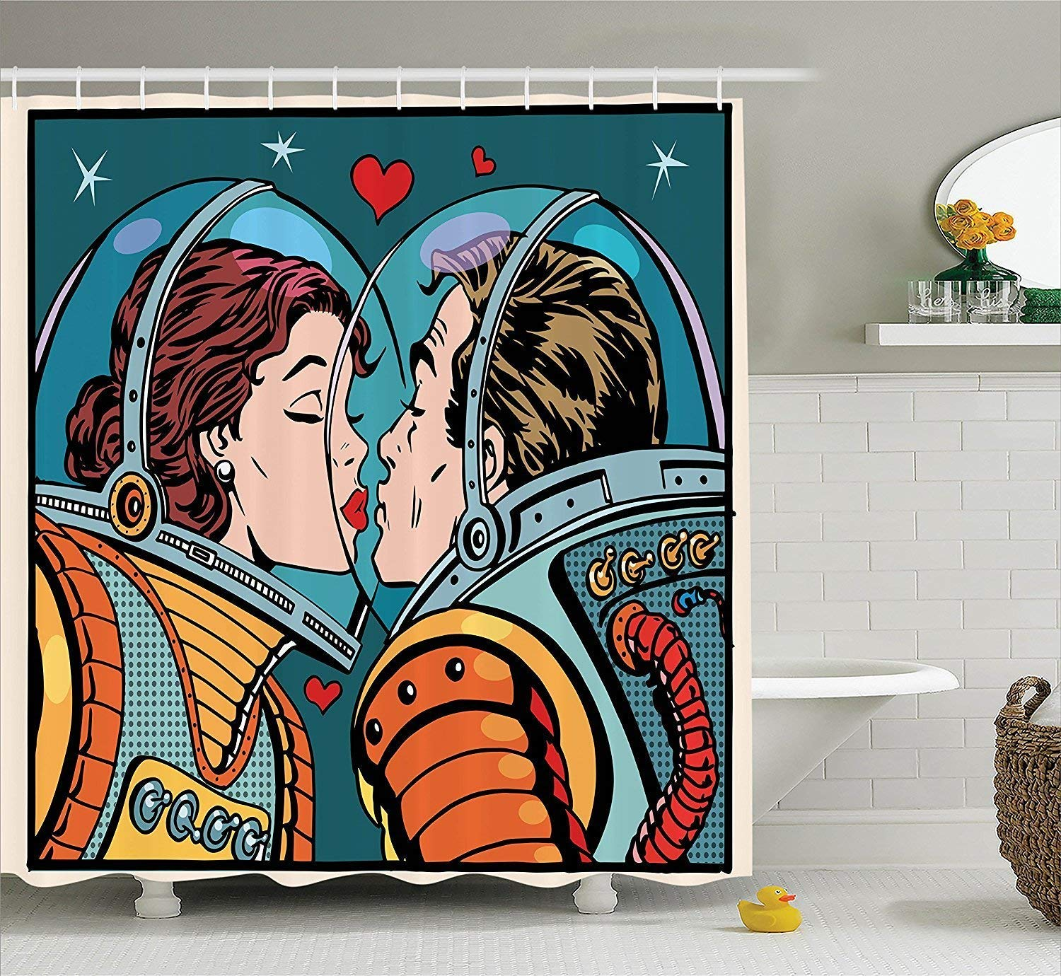 Diversión sexy werert Anime Shower Curtain Love Decor Cosmos 'Space Man and Woman Astronauts Kissing Science Cosmos Decor Fantasy Couple Pop Art Style Artful Print, Polyester Fabric Bathroom Set with Hooks, Multi 72 X 72 1fed06