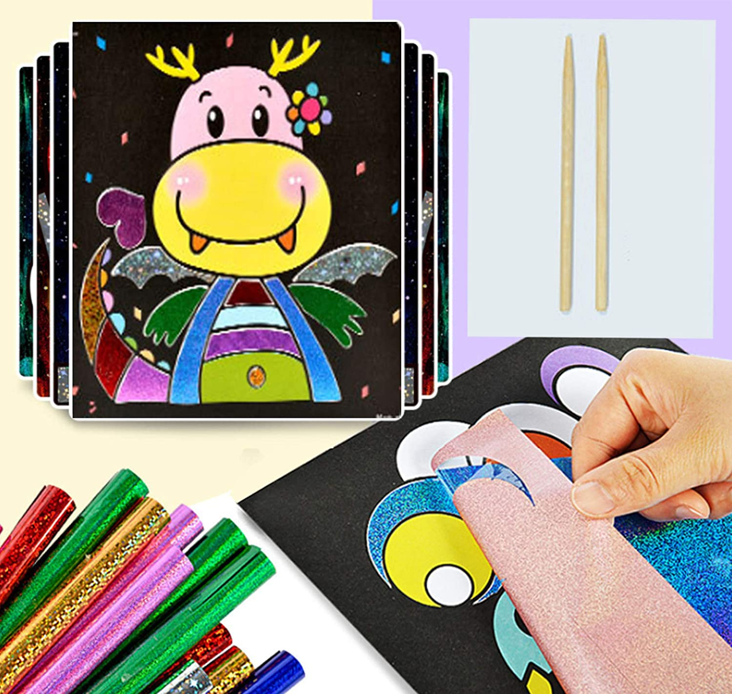 15pcs Fairy Tale Yesier Magic Art Stickers Creative Childrens DIY with 15 Sheets and 30 Transfer Sheets for Kids Arts and Crafts