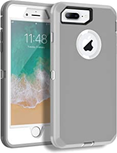 MXX iPhone 8 Plus Heavy Duty Protective Case with Screen Protector [3 Layers] Rugged Rubber Shockproof Protection Cover for Apple iPhone 7 Plus - iPhone 8 Plus/Apple Phone 8+ (Gray/White)
