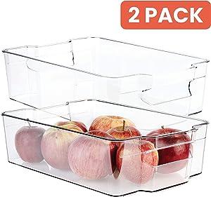 Homeries Fridge Organizer Storage Bins (Pack of 2) – Stackable Freezer & Refrigerator Organizer Container for Kitchen, Pantry, Drawer, Cabinets, Countertops – BPA Free – Multipurpose & Space Saving