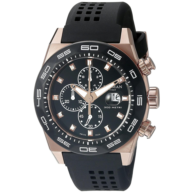 Locman Italy Men's 0217V5-RKBK5NS2K Stealth 300 Metri Analog Display Quartz Black Watch