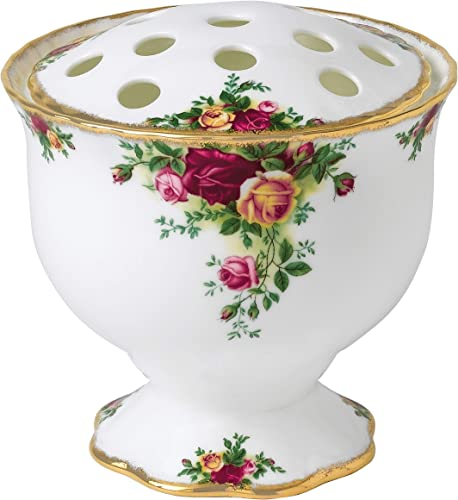 Royal Doulton Old Country Roses Rose Bowl Arrangement Vase, 5.5-Inch, White