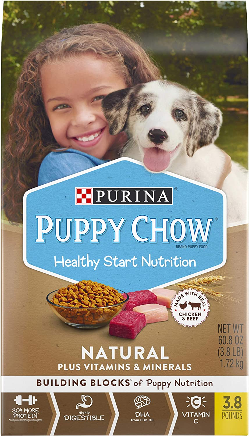 Purina Puppy Chow Natural High Protein Dry Puppy Food, With Real Chicken & Beef - 3.8 lb. Bag
