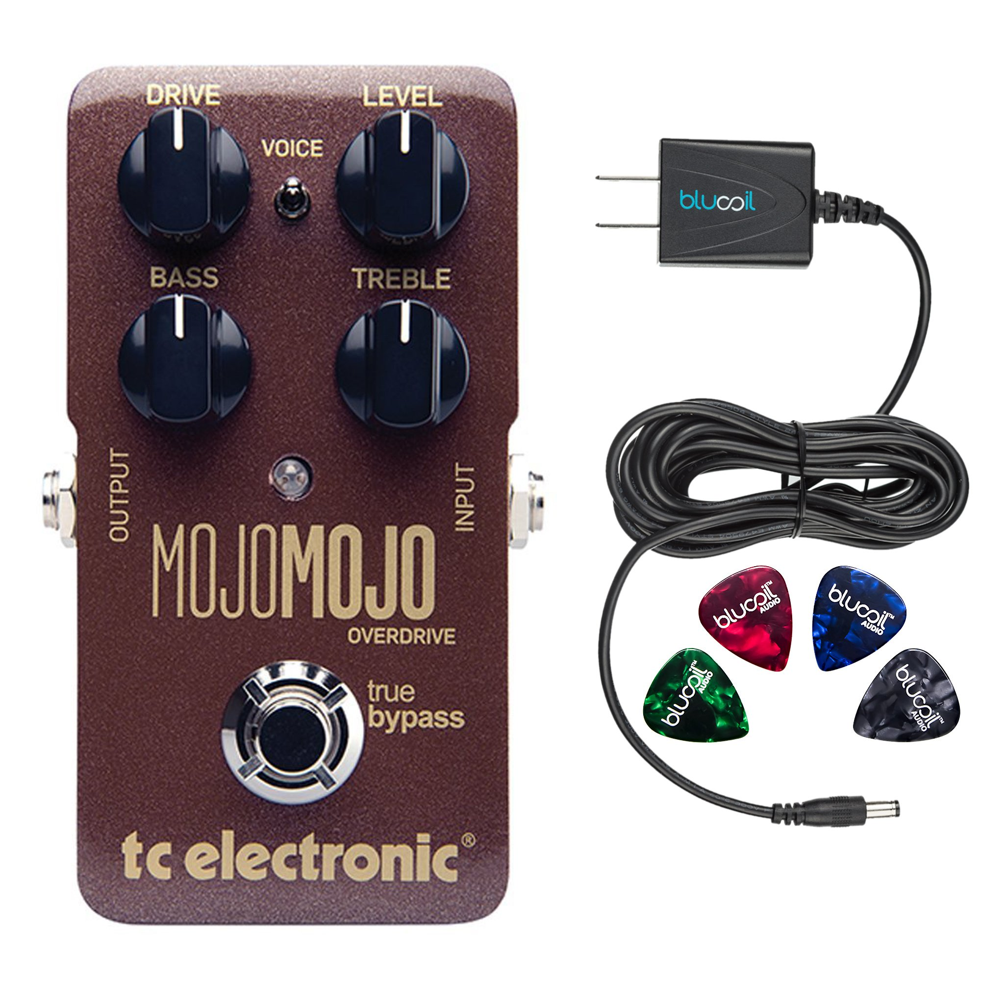 TC Electronic MojoMojo Effects Pedal Overdrive –INCLUDES– Blucoil Power Supply Slim AC/DC Adapter for 9V-DC 670mA with US Plug AND Blucoil Guitar Picks