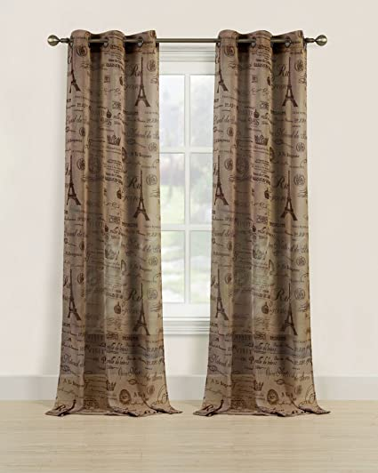 brown window curtains solid howplumb sheer window curtains tan brown paris eiffel tower grommet panel pair drapes 84quot amazoncom
