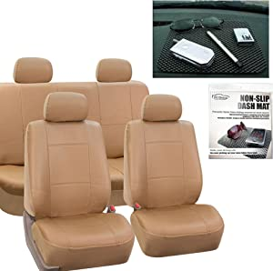 FH Group PU001114 PU Leather Seat Covers (Beige) Full Set with Gift – Universal Fit for Cars Trucks & SUVs