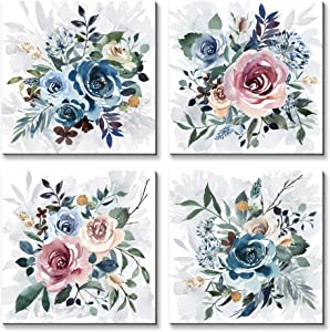 Wallpaint - Colourful Rose Flower Pictures Prints Wall Art Small Pink Blue Floral Bloom Painting 12x12inchx 4pcs Canvas Wall Decor for Girls Bedroom Bathroom Kitchen Living Room - Framed