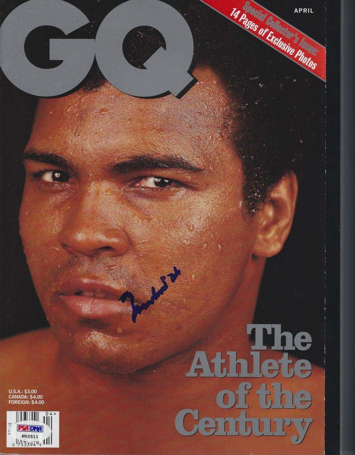 MUHAMMAD ALI Signed GQ Magazine with COA (NO Label) PSA/DNA Certified Autographed Boxing Magazines