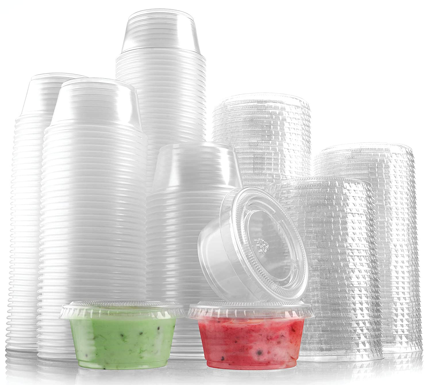 300-Pack Plastic Portion Control Cups with Snap-On Lids 2 oz. | Clear Disposable Small Food Containers | Excellent For Jello Shot, Meal Prep, Salad Dressing, Sushi, Condiments, Medicine, Sauce,Souffle (300, 2 OZ.)