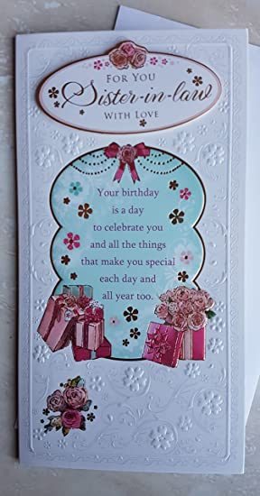 Sister In Law Birthday Card With Sentiment Verse Amazon
