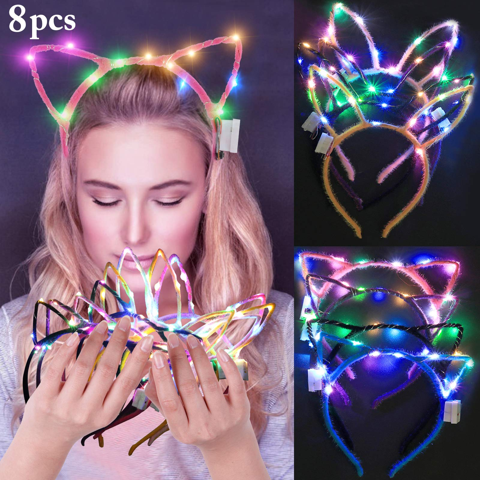 LED Bunny Ear Headband, Fascigirl 8 PCS Light Up Rabbit Ears Cat Ear Headband Cute Hairbands for Girls Adult Halloween Christmas Party Decorations Hair Accessories by Fascigirl