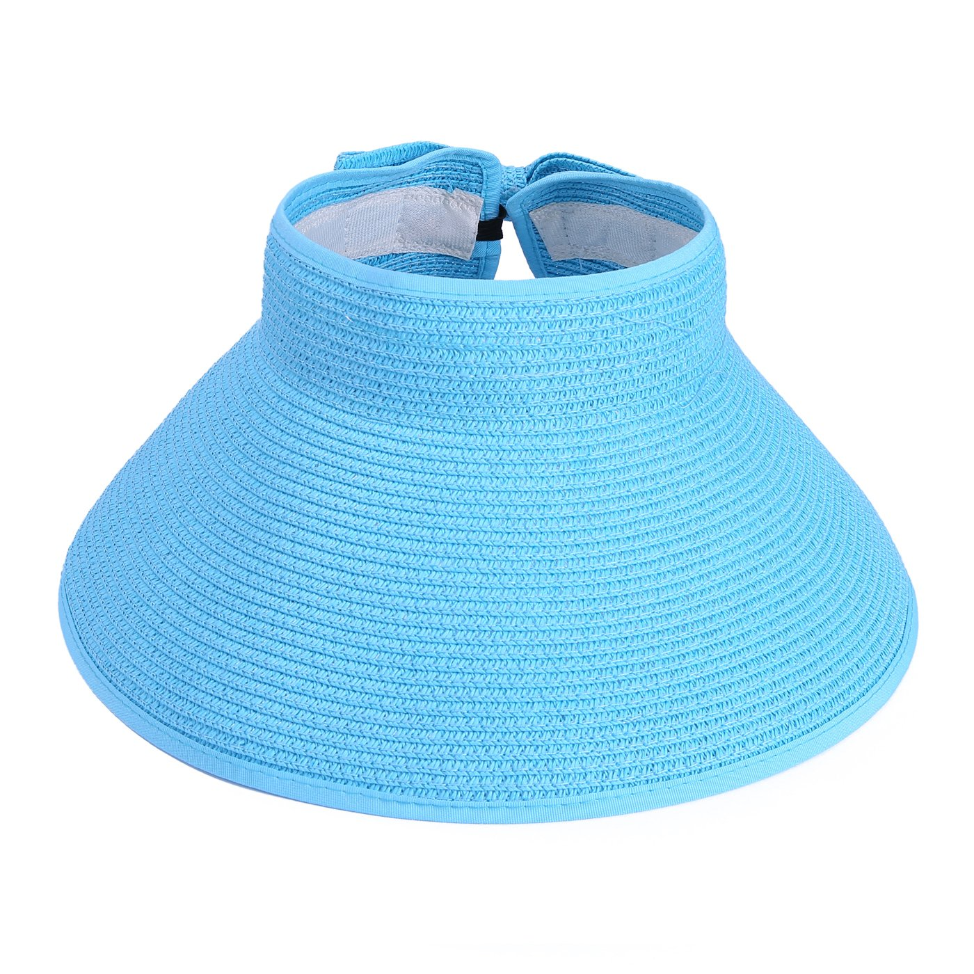 7eab4a2264487 HDE Women UPF 50+ Packable Crushable Roll Up Wide Brim Sun Visor Beach  Straw Hat