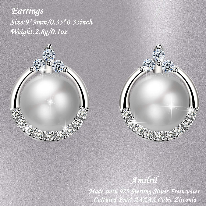 Amilril Boucles Doreilles de perles Perles deau douce 925 Sterling Argent 5A Zircone Cubique Bijoux Unique Cadeau Parfait F/ête des M/ères Cadeau