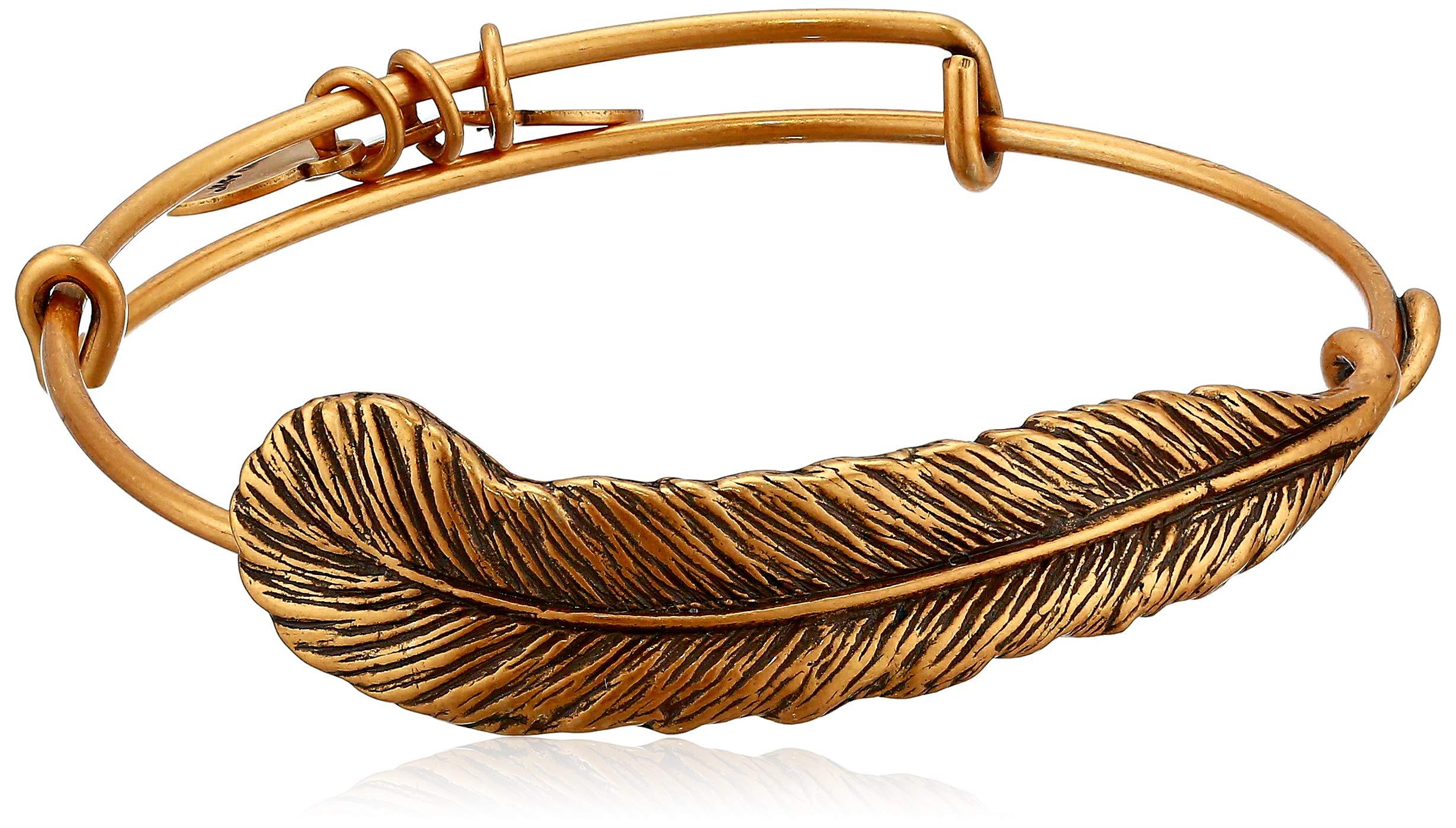 Alex and Ani Spiritual Armor ''Plume'' Rafaelian Gold-Tone Bangle Bracelet, 7.75''