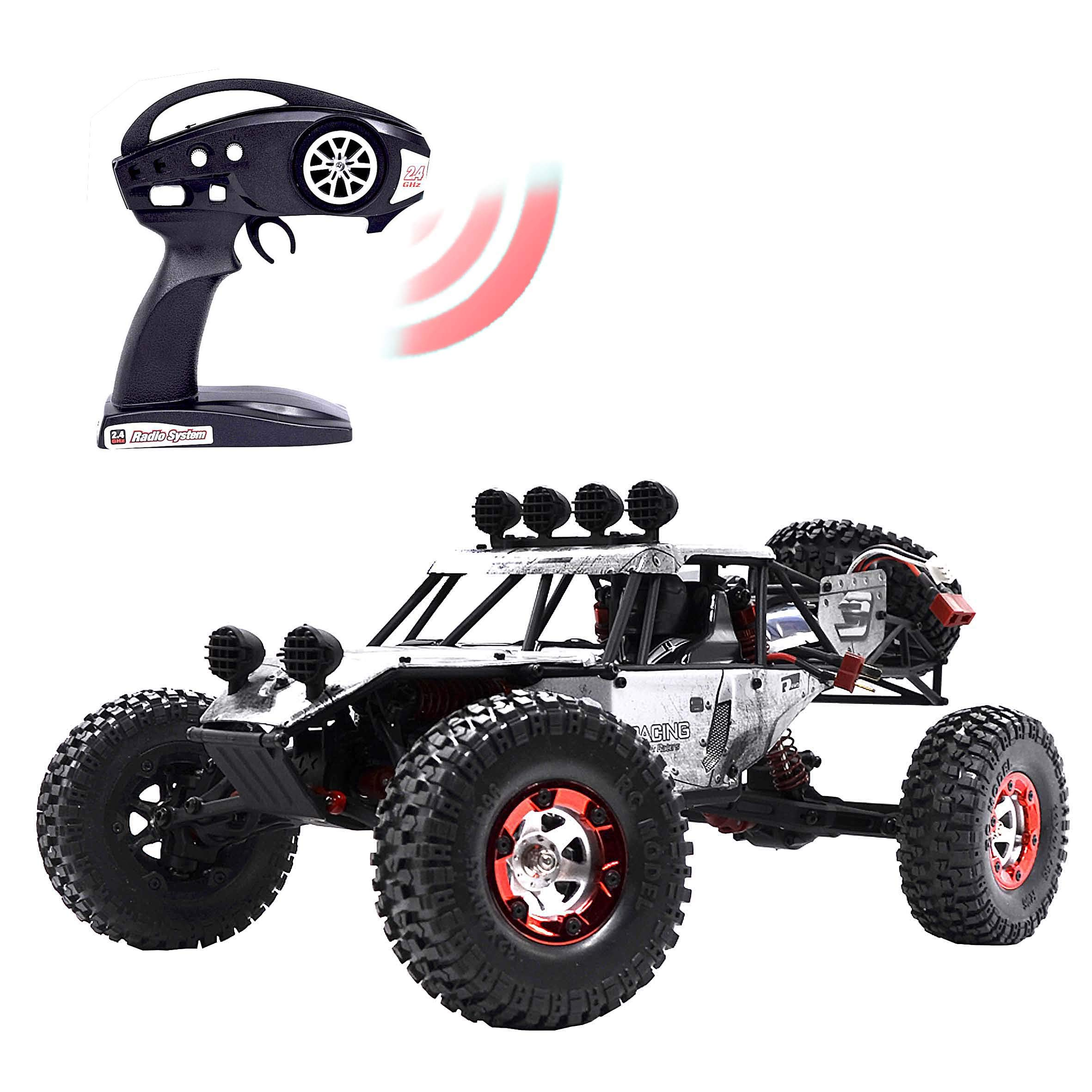 KELIWOW Electric RC Buggy 1/12 Remote Control Car 2.4Ghz 4WD Desert Off-Road Truck 40KM/h High Speed All Terrain RC Rock Crawler Monster Car for Kids and Adults-Gray