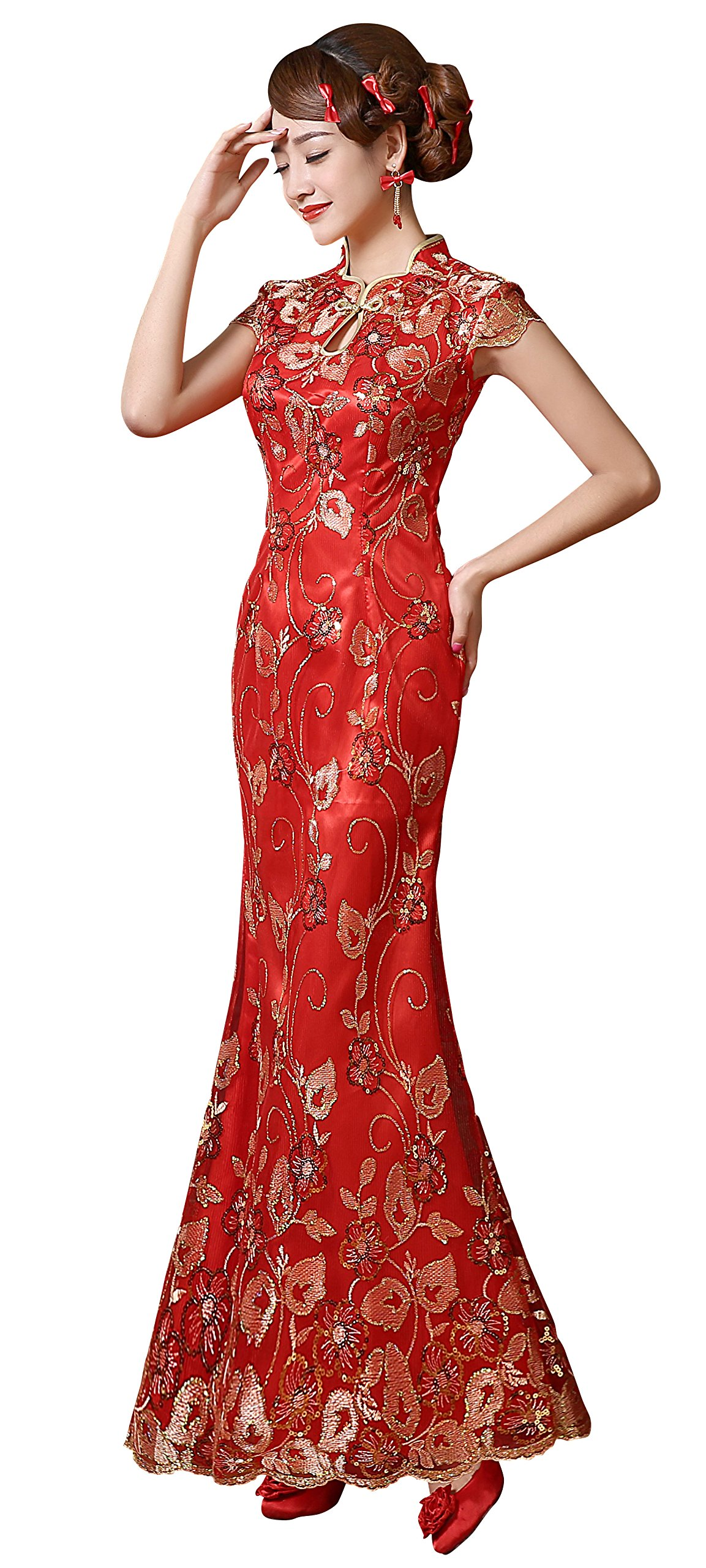 Clover Bridal Vintage Sexy High Collar Long Lace Cheongsam Qipao Dress Red (6)