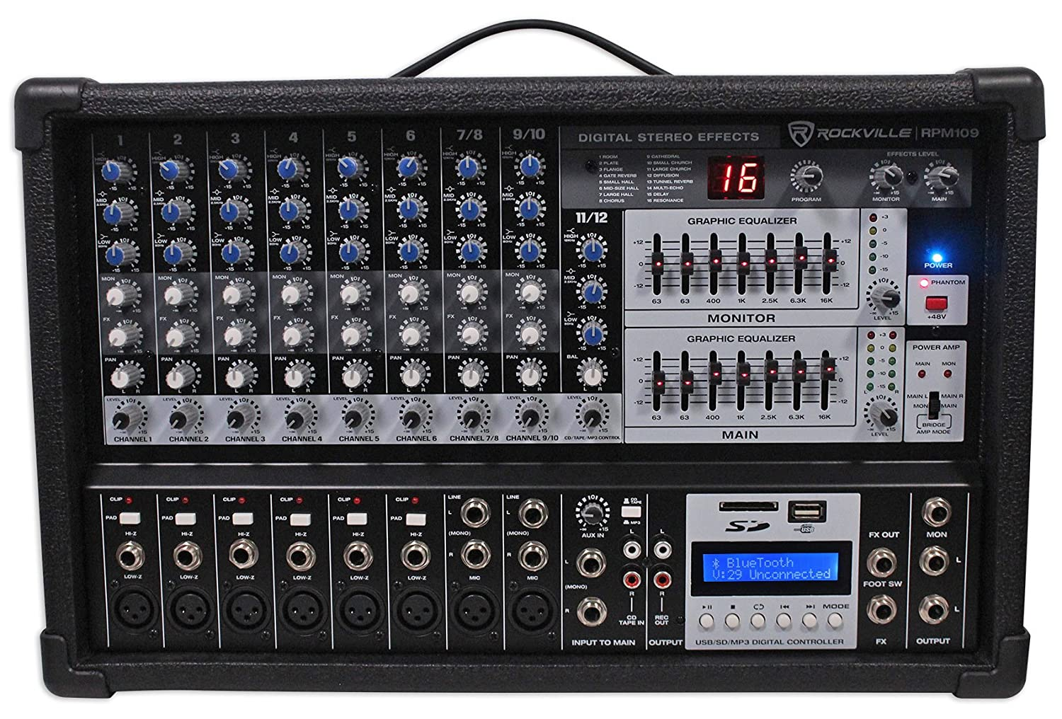 Rockville RPM85 2400w Powered 8 Channel Mixer, USB, 5 Band EQ, Effects/Bluetooth Audiosavings