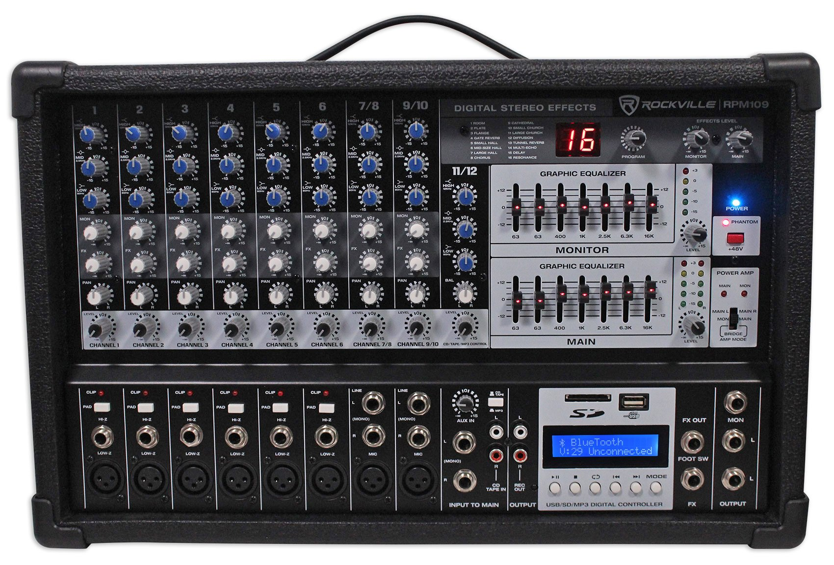Rockville RPM109 12 Channel 4800w Powered Mixer, 7 Band EQ, Effects, USB, 48V by Rockville