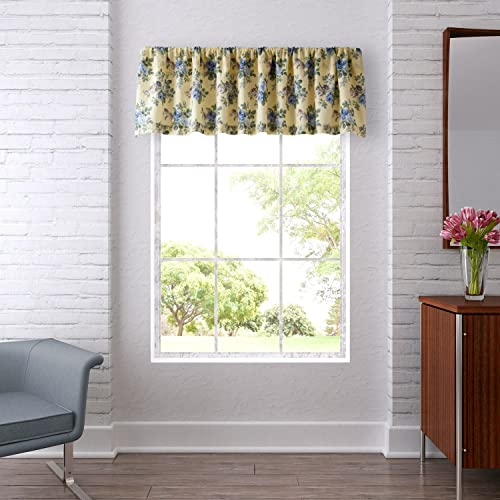 Laura Ashley Home Linley Collection Stylish Premium Hotel Quality Valance Curtain, Chic Decorative Window Treatment for Home D cor, Pale Yellow