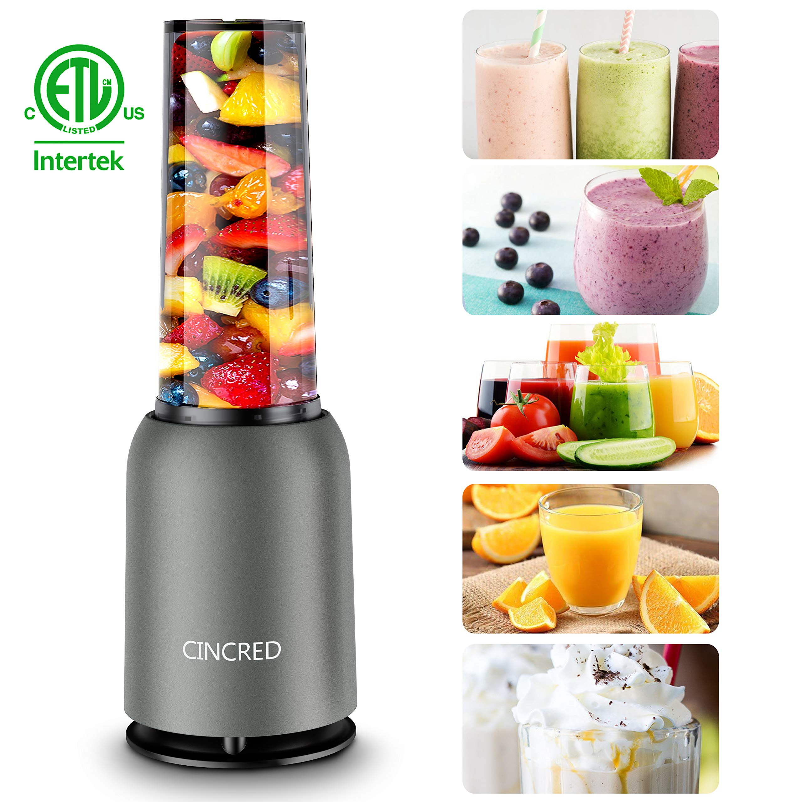 Updated 2019 Version Professional Personal Countertop Blender for Milkshake, Fruit Vegetables Drinks, Ice, Small Mini Portable Single Food Bullet Blenders Processor Shake Mixer Maker with Cup for Home Kitchen,15 Ounce by Cincred