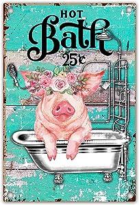 vizuzi Funny Bathroom Quote Metal Tin Sign Wall Decor, Hot Bath Pig Tin Sign for Office/Home/Classroom Bathroom Decor Gifts - Best Farmhouse Decor Gift Ideas for Friends