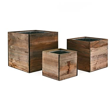 CYS EXCEL - Cube Wood Planter Box Set - Include Zinc Metal Liner [7 Sizes Combinations] - Ideal for Garden Decoration - [Set of 4 Sizes: 4 , 6 , 8 ]