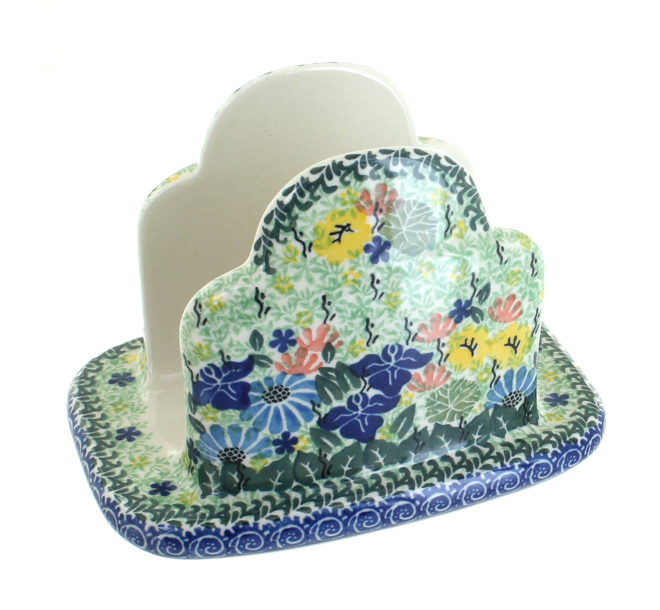 Polish Pottery Garden Bloom Napkin Holder by Ceramika Artystyczna