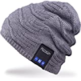 Rotibox Cappello Beanie Bluetooth, Cappellino Trendy Knit Short Trendy con Auricolare Bluetooth Headphone Auricolare Audio Music Hands-free chiamata telefonica per Outdoor Sport Fitness Ginnastica Workout Regalo di Natale