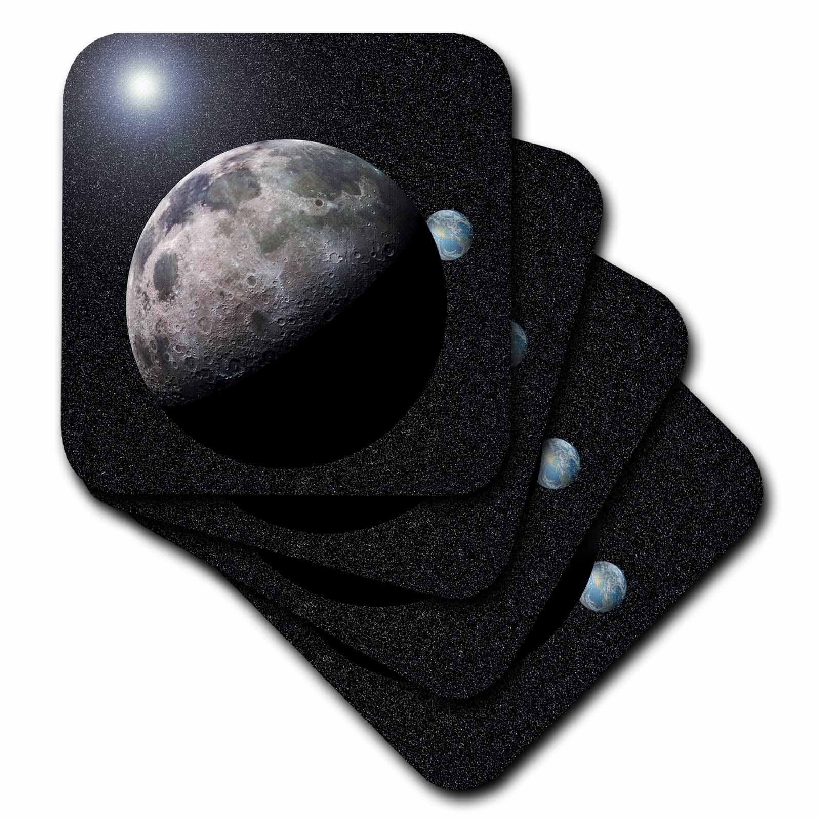 3dRose cst_19949_3 Moon Dance Solar System Scene of Planet Earth and Moon Dancing in Space Orbit Ceramic Tile Coasters, Set of 4