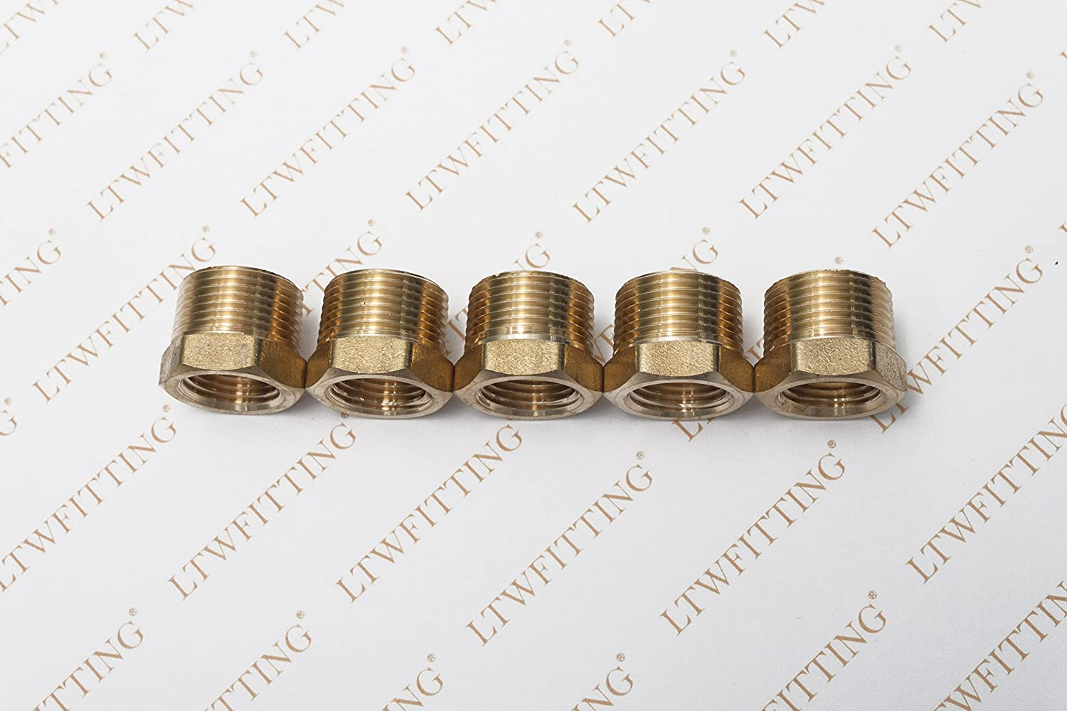 Pack of 5 LTWFITTING Brass Hex Pipe Bushing Reducer Fittings 3//4 Inch Male x 1//2 Inch Female NPT