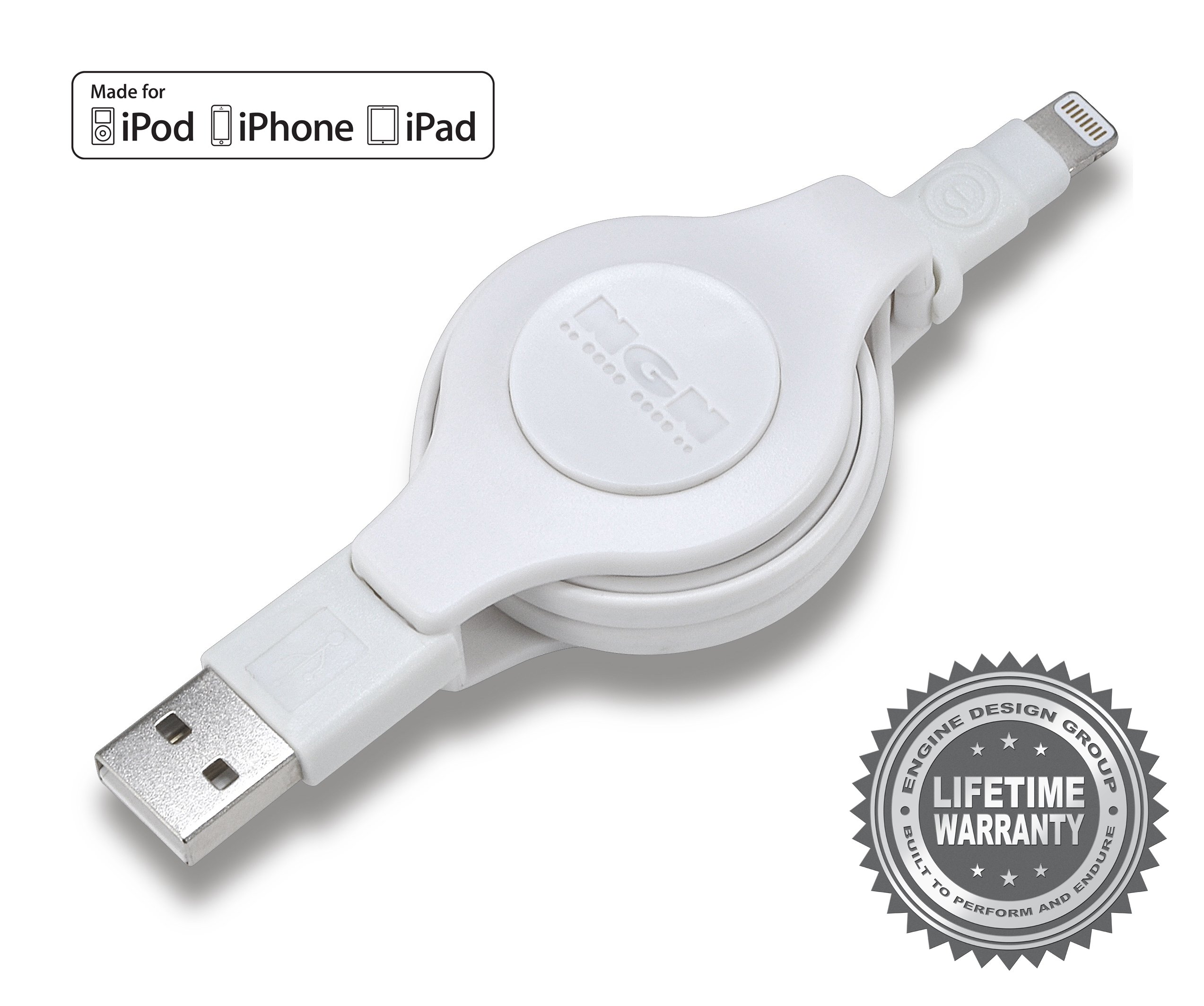 Apple MFI Certified Retractable Lightning Cable | Charge and Sync Lightning to USB - 3.5 Feet (White) 3-Pack by Engine Design Group NGN (Image #4)