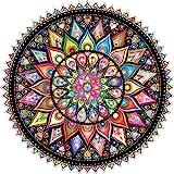 Bgraamiens Puzzle-Geometric Colorful Mandala-1000 Pieces Creative Geometric Round Blue Board Colorful Mandala Jigsaw Puzzle