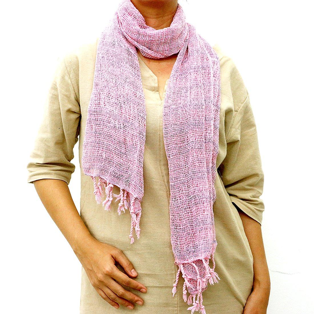 Taruron Woven Net Cotton Plain or Multi Colors Summer fashionable Scarf (Pink)