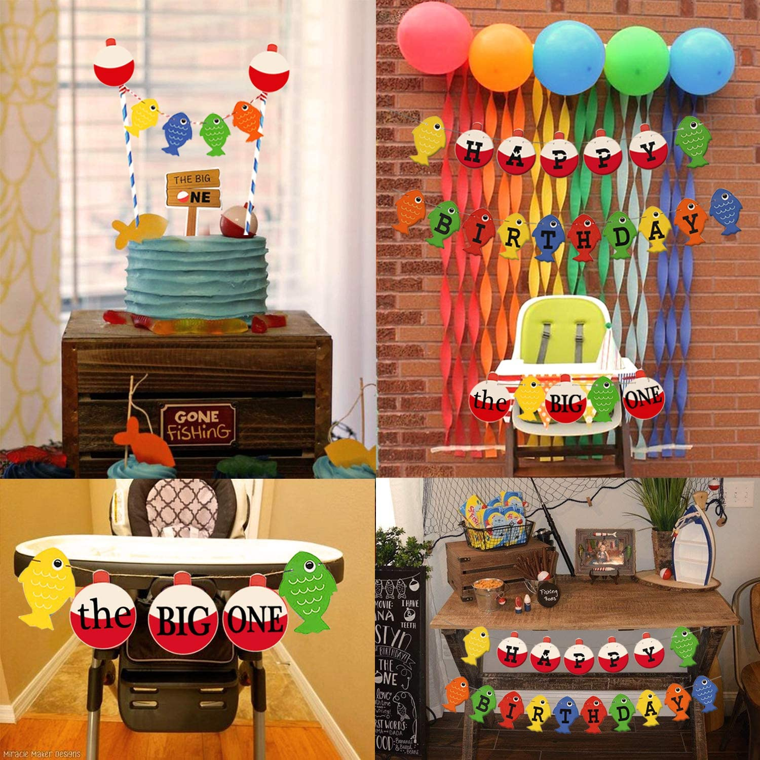 Gone Fishing Little Fisherman Party Supplies Decorations The Big One First Birthday Banner Fishing Happy Birthday Bobber Banner Hombae The Big One Birthday Theme Fishing Fishing Themed 1st Birthday.
