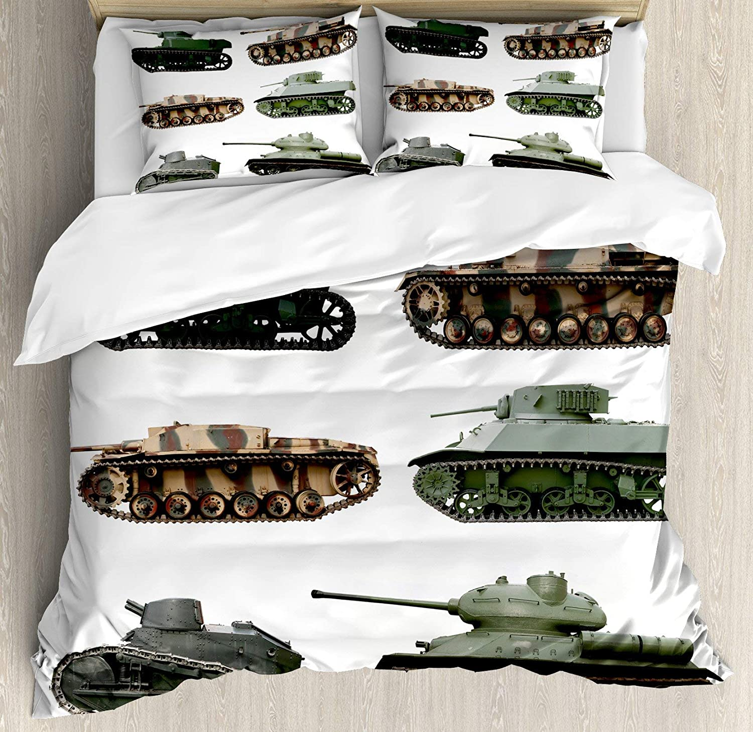 Amazon Com War Home Decor Duvet Cover Set Bed Sheets Second World War Armoured Tanks Camouflage Military Power Artillery Weapon 3 Piece Bedding Set Pillow Shams Twin Size Green White Home Kitchen