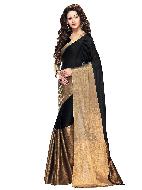 Shonaya Black & Golden Colour Cotton Printed Saree With Unstitched Blouse Piece KYSPS-Aryaa