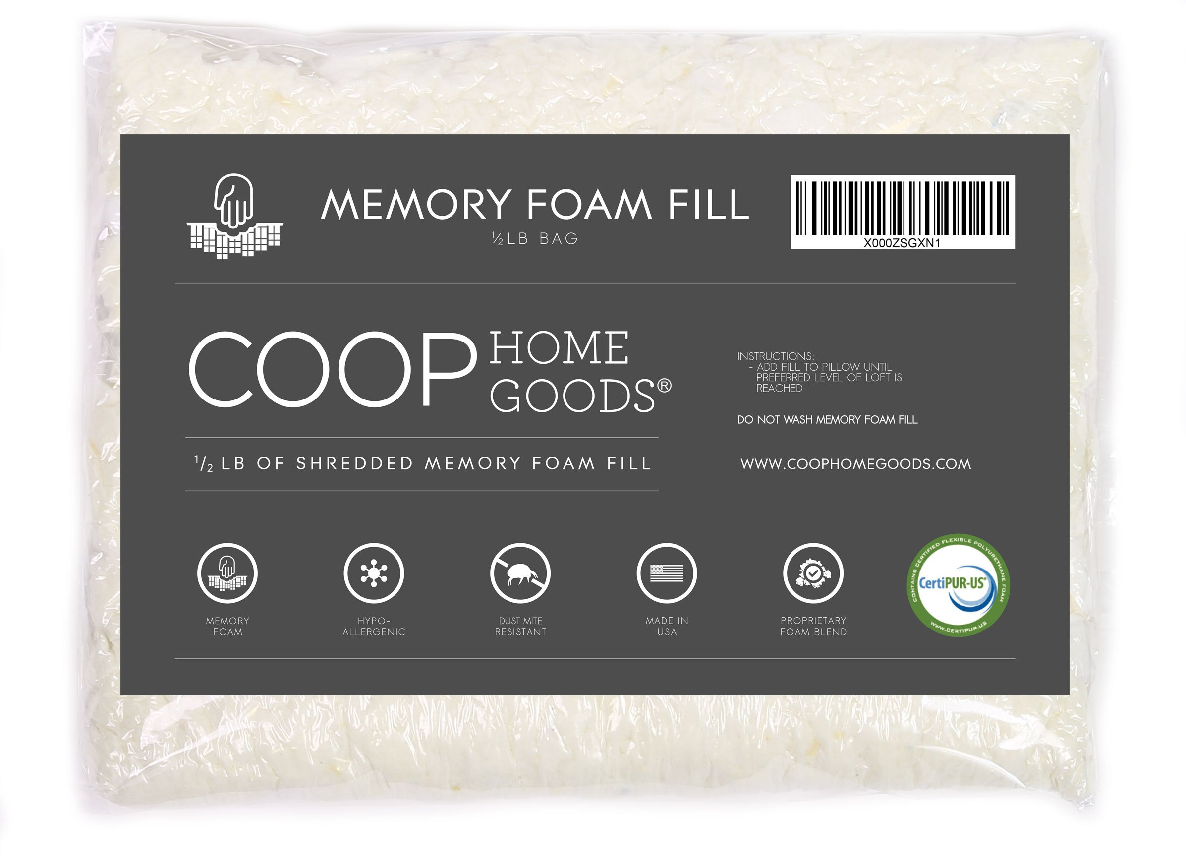 Coop Home Goods Adjustable Shredded Memory Foam Pillow Firm Refill - Foam 1/2 LB